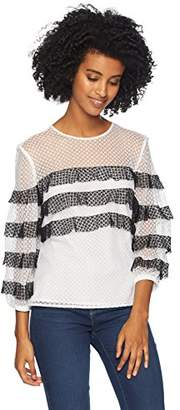 Milly Women's Stretch Dots Mesh Long Sleeve Stripe Gabriella top