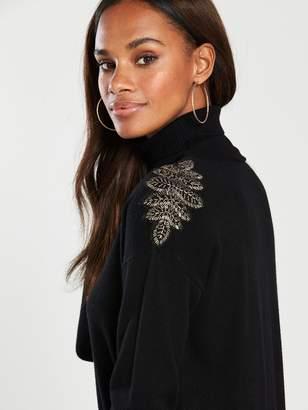 cf7e166746d7e0 Wallis Embellished Shoulder Polo Knit Tunic