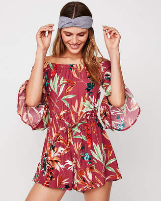 Express Petite Tropical Floral Off The Shoulder Romper