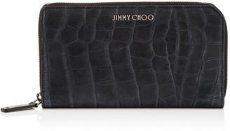 Jimmy Choo CARNABY Navy Crocodile Embossed Satin Leather Travel Wallet
