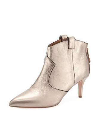 Veronica Beard Lexi Metallic Leather Western Ankle Booties