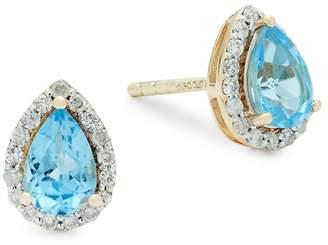 Saks Fifth Avenue Women's Diamond, Pear Swiss Blue Topaz and 14K Gold Stud Earrings