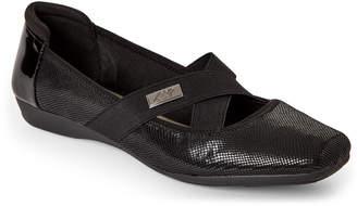 AK Anne Klein Sport Black Upside Elastic Strap Ballet Flats