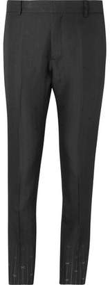 Black Slim-Fit Silk And Wool-Blend Jacquard Suit Trousers