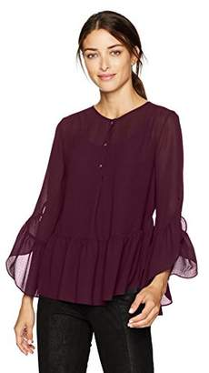 Max Studio Women's Solid Blouse with Bel Sleeve and Flutter Hem