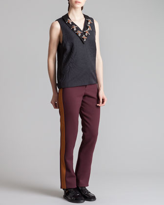 Marni Straight-Leg Tuxedo Pants, Bordeaux/Gold