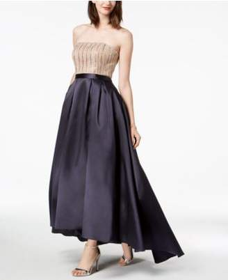 Xscape Evenings Strapless Beaded High-Low Gown