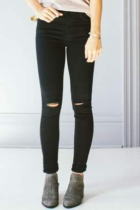 Just Black Knee Slit Skinny Jeans