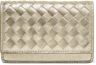 Bottega Veneta Metallic Intrecciato Leather Wallet - Gold