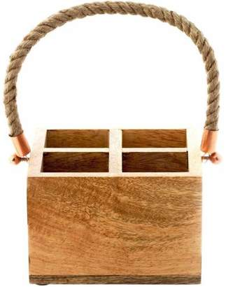 Thirstystone Urban Farm Square Mango Wood Caddy/Rope Handle