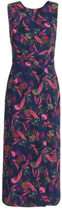 Saloni Printed Crepe Midi Dress