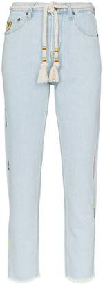 Mira Mikati rope belt cropped jeans