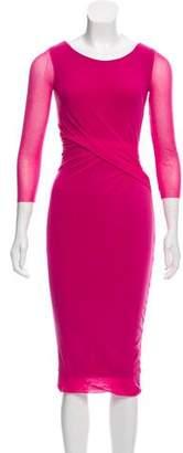 Fuzzi Ruched Bodycon Midi Dress
