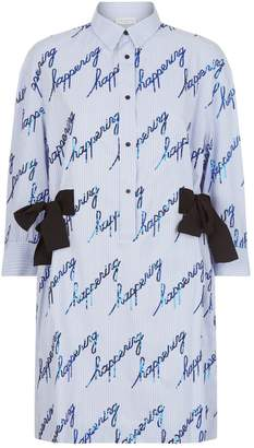 Sandro Embellished Striped Shirt Dress