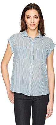 William Rast Women's Kinsley Short Sleeve Gather Back Shirt