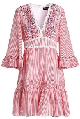 Saloni Embroidered Striped Cotton-Blend Seersucker Min Idress
