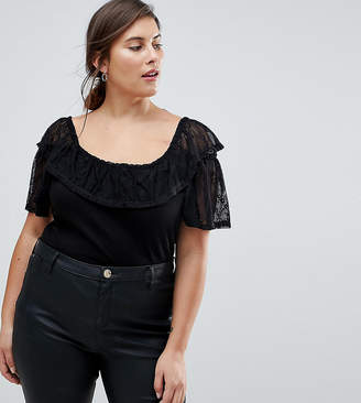 Asos Top in Rib with Lace Off Shoulder Trim