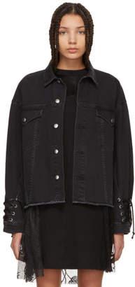 McQ Black Denim Oversized Laced Jacket