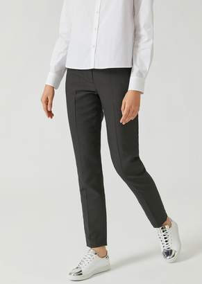 Emporio Armani Slim Fit Trousers In Jacquard Micro Dot Fabric