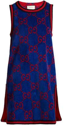 Gucci Gg Jacquard Cotton Towelling Dress - Womens - Blue