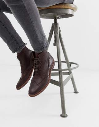 Asos DESIGN lace up brogue boots in brown leather with natural sole