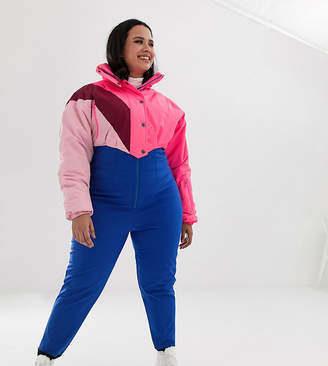 Asos 4505 Curve SKI jumpsuit in color block with funnel neck