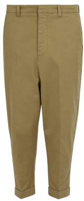 Ami Oversized Tapered Stretch Cotton Trousers - Mens - Beige