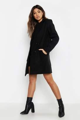 boohoo Pocket Detail Tailored Wool Look Coat
