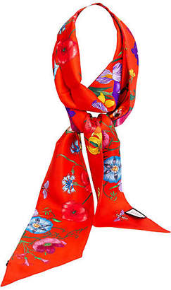 One Kings Lane Vintage Gucci Red Silk Floral Scarf - Vintage Lux