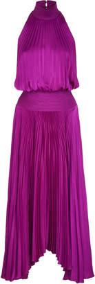 A.L.C. Renzo Pleated Satin Halterneck Dress
