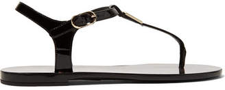 Dolce & Gabbana Logo-embellished Patent-leather Sandals - Black