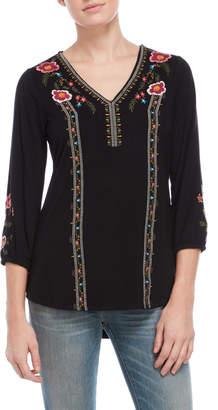 Cupio Black Embroidered Top
