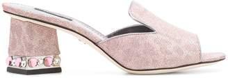 Dolce & Gabbana Leo glitter open toe mules