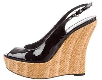 Gucci Patent Leather Slingback Wedges