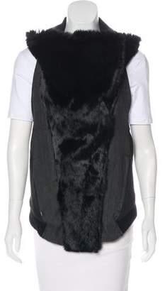 Helmut Lang Fur-Accented Asymmetrical Vest