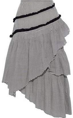 Love Sam Haley Layered Striped Cotton-Blend Gauze Midi Skirt
