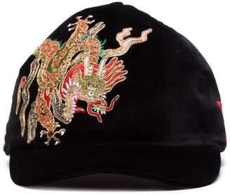 Gucci black dragon embroidered velvet cap