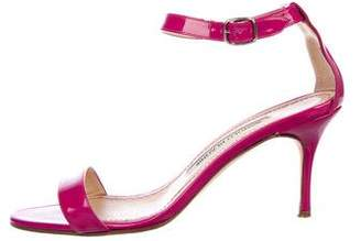 Manolo Blahnik Patent Leather Ankle Strap Sandals