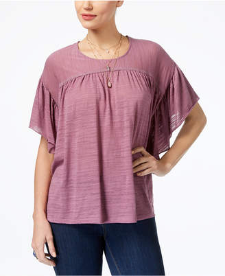 Style&Co. Style & Co Petite Flutter-Sleeve Poncho Top, Created for Macy's