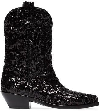 Dolce & Gabbana Gaucho 40 Sequined Cowboy Boots