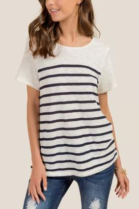 Reese Bow Back Linen Striped Tee - Navy