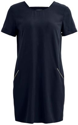 Vila Short-Sleeved Shift Dress with Open Back
