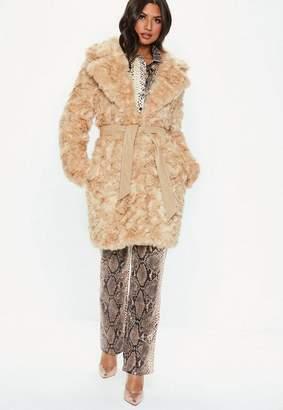 Missguided Cream Premium Faux Fur Tie Waist Wrap Coat
