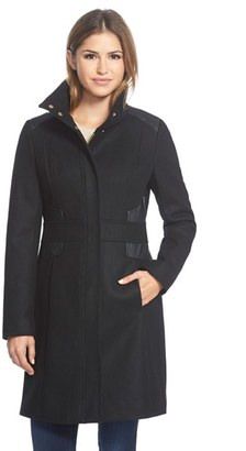 Women's Via Spiga Wool Blend Coat With Faux Leather Trim $288 thestylecure.com