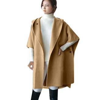 T Tahari HHmei Coats for Women Ella, Women Loose Batwing Wool Poncho Winter Warm Coat Jacket Cloak Cape Parka Outwear, Winter Trench Coats for Women 13 x-Military Coats and Jackets