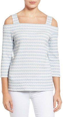 Women's Kut From The Kloth Fridi Texture Stripe Cold Shoulder Top $68 thestylecure.com