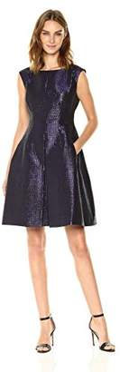 Anne Klein Women's Inverted Pleated Skirt Fit and Flare-Tile Jacquard