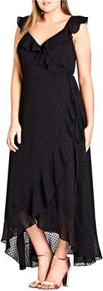 City Chic Dot Fil Coupe Ruffle Maxi Dress