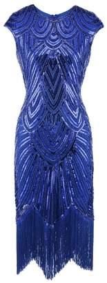 Ez-sofei Women's Vintage Sequined Embellished Tassels Gatsby Flapper Cocktail Dresses (L, )