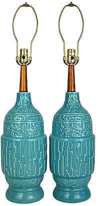 One Kings Lane Vintage Midcentury Turquoise Table Lamps - Set of 2 - Acquisitions Gallerie